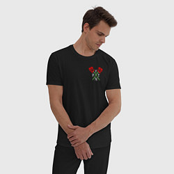 Пижама хлопковая мужская Payton Moormeier цвета черный — фото 2