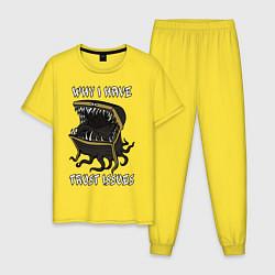 Пижама хлопковая мужская Why I Have Trust Issues цвета желтый — фото 1
