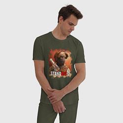 Пижама хлопковая мужская STANDOFF 2 цвета меланж-хаки — фото 2