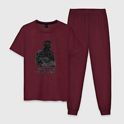 Пижама хлопковая мужская Острые козырьки цвета меланж-бордовый — фото 1