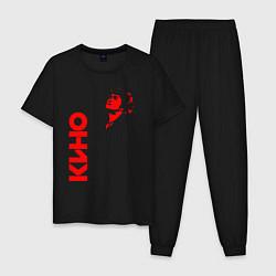 Пижама хлопковая мужская Виктор Цой цвета черный — фото 1
