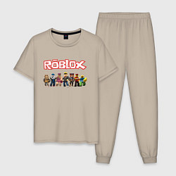 Пижама хлопковая мужская ROBLOX цвета миндальный — фото 1