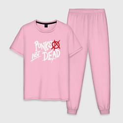 Пижама хлопковая мужская Punks not dead цвета светло-розовый — фото 1