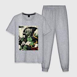 Пижама хлопковая мужская God of wind цвета меланж — фото 1