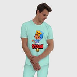 Пижама хлопковая мужская BRAWL STARS SANDY цвета мятный — фото 2