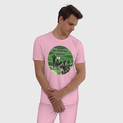 Пижама хлопковая мужская Пограничные Войска цвета светло-розовый — фото 2