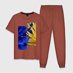 Пижама хлопковая мужская Украинский акцент цвета кирпичный — фото 1