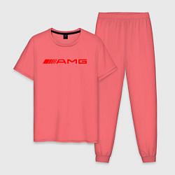 Пижама хлопковая мужская MERCEDES AMG цвета коралловый — фото 1