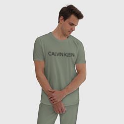 Пижама хлопковая мужская CALVIN KLEIN цвета авокадо — фото 2
