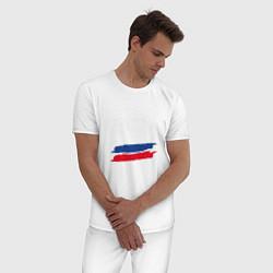 Пижама хлопковая мужская Россия цвета белый — фото 2