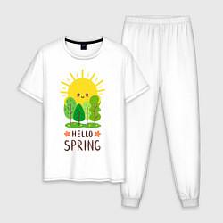 Пижама хлопковая мужская Hello Spring цвета белый — фото 1