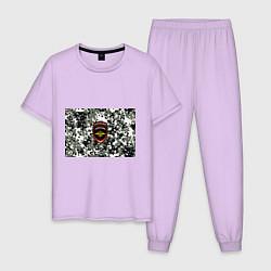 Пижама хлопковая мужская Полиция цвета лаванда — фото 1