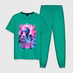 Пижама хлопковая мужская Muse цвета зеленый — фото 1