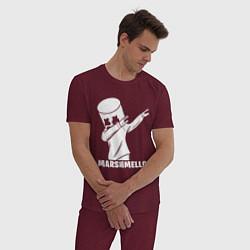 Пижама хлопковая мужская MARSHMELLO цвета меланж-бордовый — фото 2