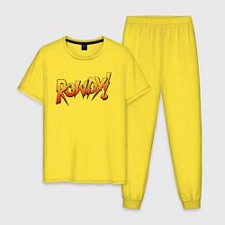 Пижама хлопковая мужская Rowdy цвета желтый — фото 1