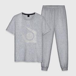 Пижама хлопковая мужская Half life combine logo цвета меланж — фото 1