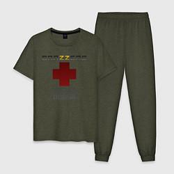 Пижама хлопковая мужская Brazzers orgasm donor цвета меланж-хаки — фото 1