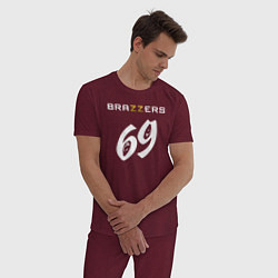 Пижама хлопковая мужская Brazzers 69 цвета меланж-бордовый — фото 2