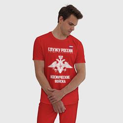 Пижама хлопковая мужская Космические войска цвета красный — фото 2