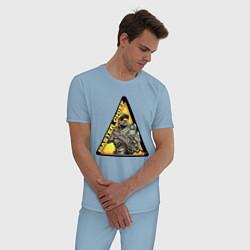 Пижама хлопковая мужская Halo цвета мягкое небо — фото 2