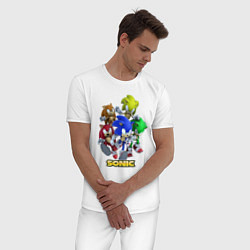 Пижама хлопковая мужская Sonik цвета белый — фото 2