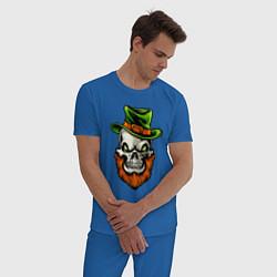 Пижама хлопковая мужская ДЕНЬ СВЯТОГО ПАТРИКА цвета синий — фото 2