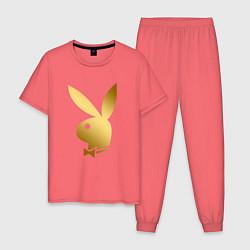 Пижама хлопковая мужская PLAYBOY GOLD цвета коралловый — фото 1