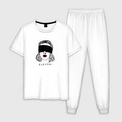 Пижама хлопковая мужская Очень странные дела цвета белый — фото 1