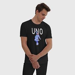 Пижама хлопковая мужская Little Big: UNO цвета черный — фото 2
