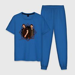 Пижама хлопковая мужская Supernatural цвета синий — фото 1