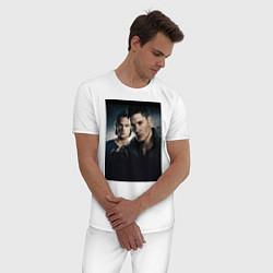 Пижама хлопковая мужская Winchester Brothers цвета белый — фото 2