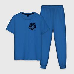 Пижама хлопковая мужская Supernatural Pentagram цвета синий — фото 1