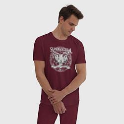Пижама хлопковая мужская Saving People Hunting Things цвета меланж-бордовый — фото 2