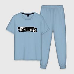 Пижама хлопковая мужская The Punisher цвета мягкое небо — фото 1