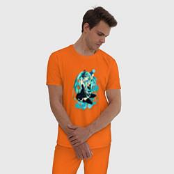 Пижама хлопковая мужская Хацуне Мику цвета оранжевый — фото 2