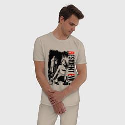 Пижама хлопковая мужская RESIDENT EVIL 3 REMAKE цвета миндальный — фото 2