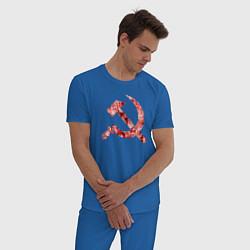 Пижама хлопковая мужская Ахегао СССР цвета синий — фото 2