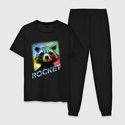 Пижама хлопковая мужская ROCKET цвета черный — фото 1