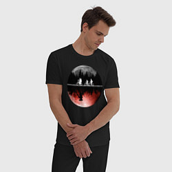 Пижама хлопковая мужская Очень странные дела цвета черный — фото 2