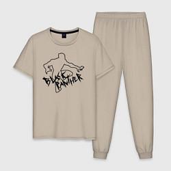 Пижама хлопковая мужская Черная Пантера Мстители цвета миндальный — фото 1