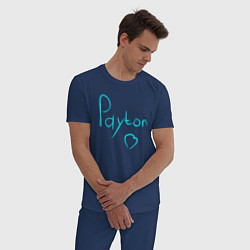 Пижама хлопковая мужская PAYTON LOVE цвета тёмно-синий — фото 2