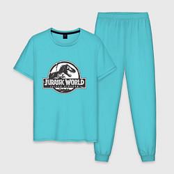 Пижама хлопковая мужская Jurassic World цвета бирюзовый — фото 1