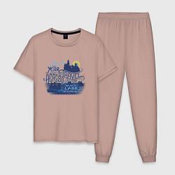 Пижама хлопковая мужская Гарри Поттер цвета пыльно-розовый — фото 1