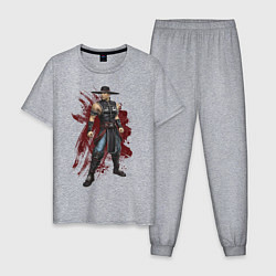 Пижама хлопковая мужская Kung Lao цвета меланж — фото 1