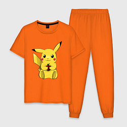 Пижама хлопковая мужская Пикачу цвета оранжевый — фото 1
