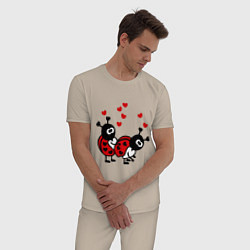 Пижама хлопковая мужская Секс-букашки цвета миндальный — фото 2