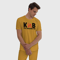 Пижама хлопковая мужская КГБ все еще следит за тобой цвета горчичный — фото 2