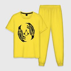 Пижама хлопковая мужская Assassin's Creed Valhalla цвета желтый — фото 1
