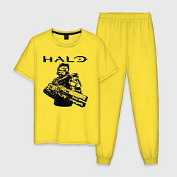 Пижама хлопковая мужская HALO цвета желтый — фото 1