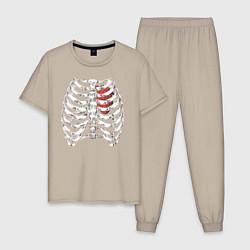 Пижама хлопковая мужская Skeleton цвета миндальный — фото 1
